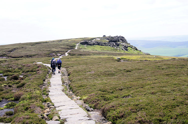 Walkers enjoying the day out on Derwent Edge