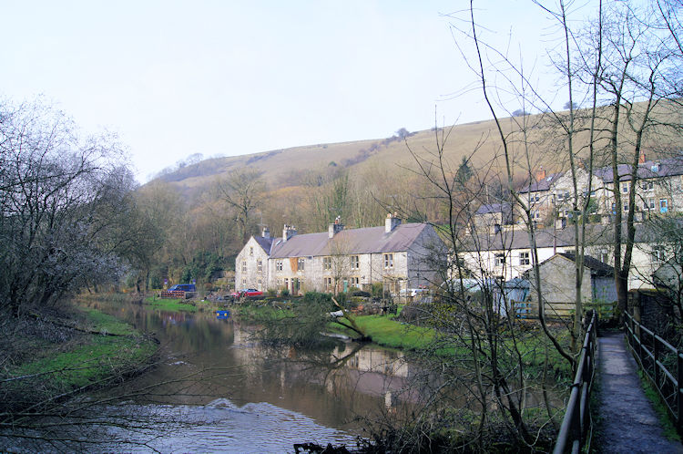 Cottages beside the River Wye at Litton Mill