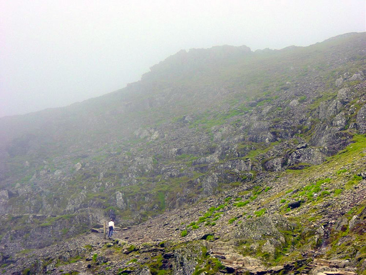 Nearing the summit of Snowdon and now in cloud