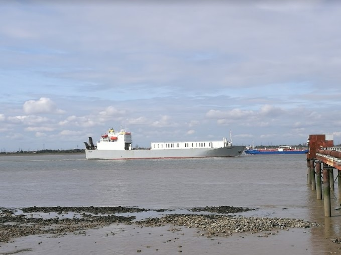 Ship in the Thames near Cliffe Pools