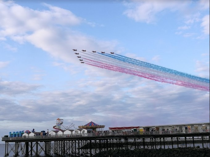 Red Arrows display over Herne Bay Pier