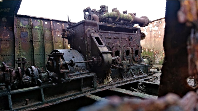 Diesel engine within the wrecked Tug