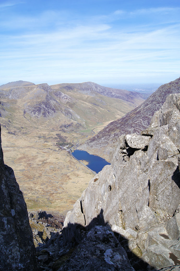 View from the top of the gully to Llyn Ogwen and Foel Goch