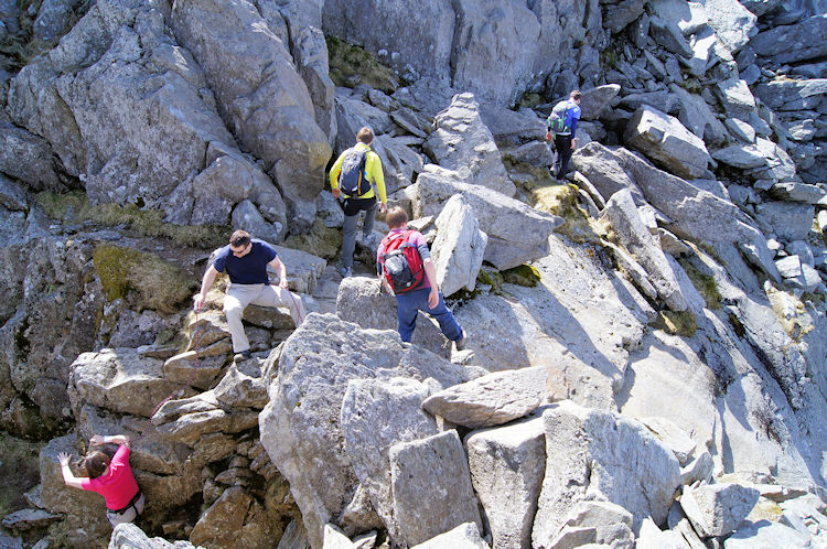 Walkers weave their way up the mountain
