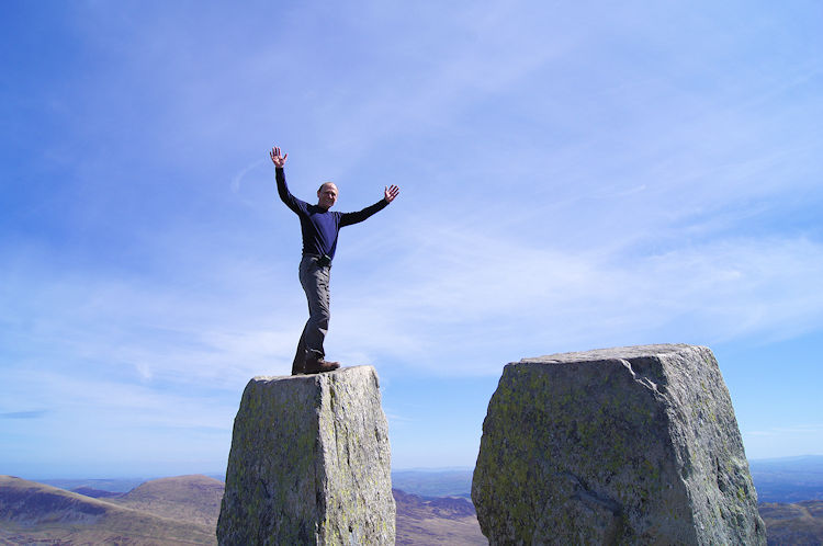Celebrating reaching the summit of Tryfan on Eve...