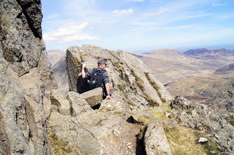 A fellow route finder on the crags of Glyder Fach