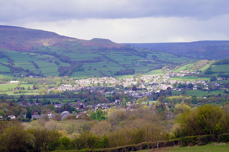 Looking down to Crickhowell from Darren Cilau