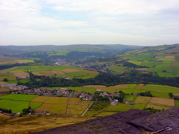 The view to Calder Vale from Stoodley Pike