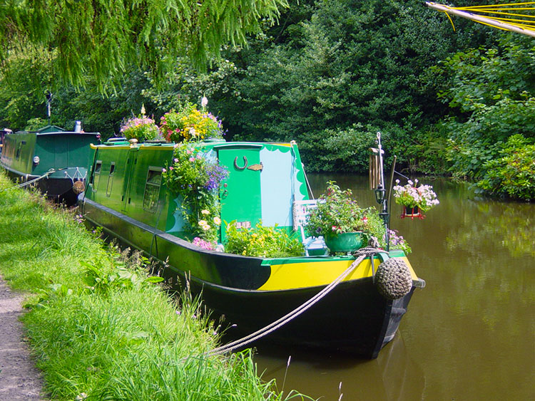 Colourful Narrowboat at Calderside