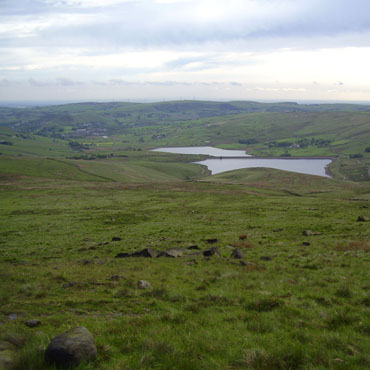 Castleshaw reservoirs from the Pennine Way